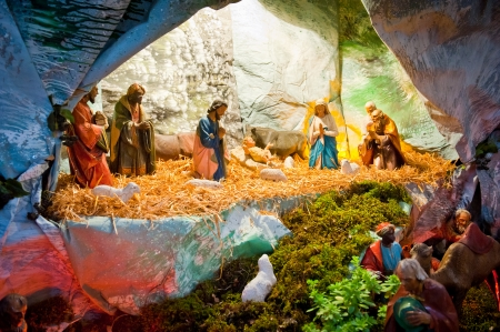Traditional Christmas display of Jesus birth made of small figurines  photo