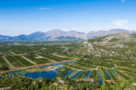 Beautiful Neretva valley in southern Croatia with numerous crop fields and hills in distance