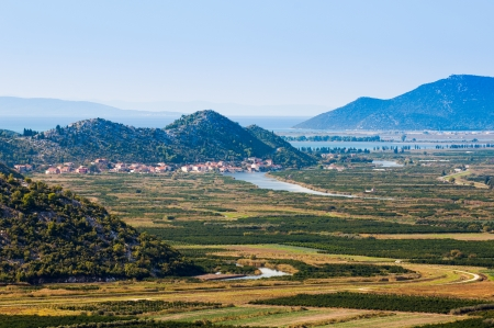 neretva: Beautiful Neretva valley in southern Croatia with Adriatic sea in background