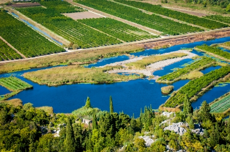neretva: Beautiful Neretva valley in southern Croatia with numerous crop fields and river lakes