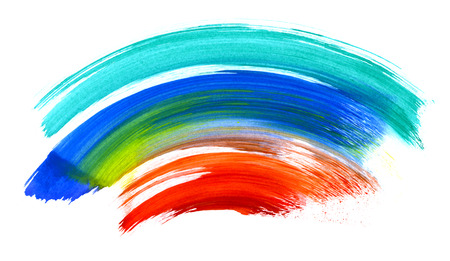 Colorful watercolor brush strokes isolated on white  Useful as design elements