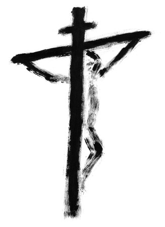 Jesus on the cross drawn with watercolors photo