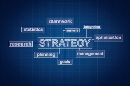 Strategy planning concept word cloud on blueprint, technical drawing style photo