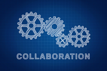 Collaboration Concept  Technical drawing of gears, the idea of teamwork and success  Stock Photo