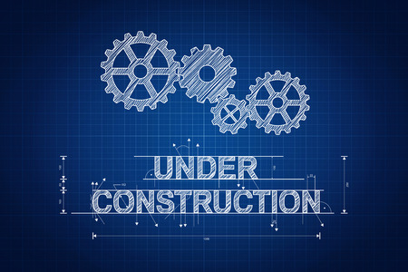 Under construction blueprint, technical drawing with gear wheel photo