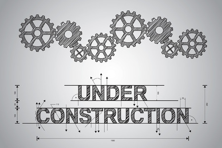 web solution: Under construction concept, sketched drawing with gear wheels  Stock Photo