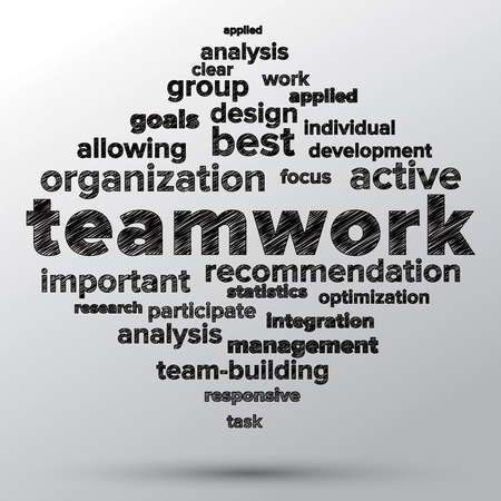 Teamwork and strategy concept sketched in word tag cloud  Stock Photo