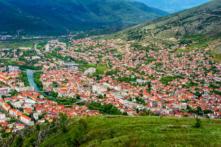The view from high on the city of Mostar in Bosnia and Herzegovina  photo
