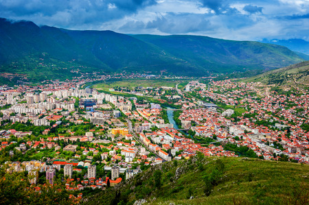 The view from high on the city of Mostar in Bosnia and Herzegovina  Stock Photo