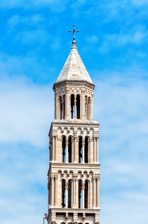 Old church bell tower in Split old town in Croatia photo