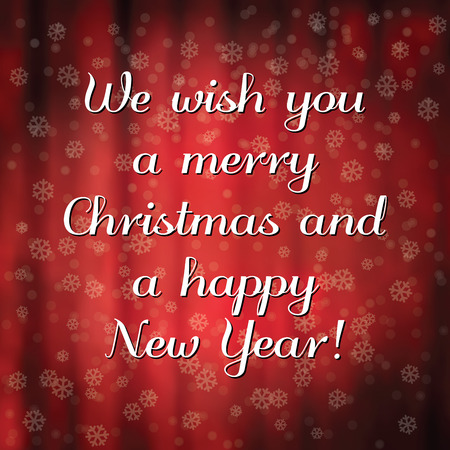 Merry Christmas and happy New Year message. Retro typography with snowflakes and blurry background. photo