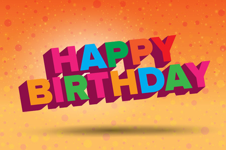 warm colors: Colorful happy birthday illustration in warm colors Stock Photo