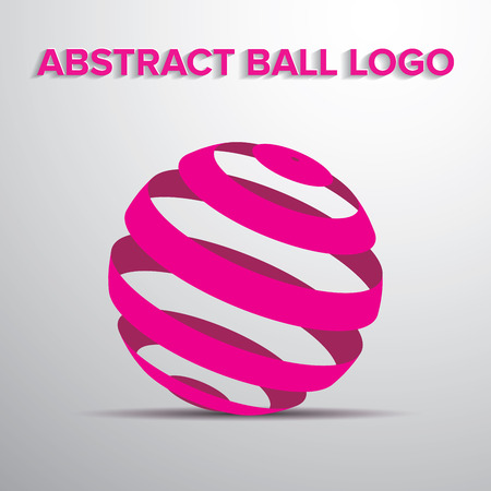 pinky: Abstract geometric striped ball logo in pink