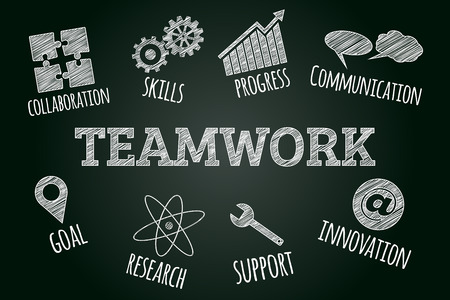 sketched icons: Sketched word cloud of teamwork related icons and words, business concept on blackboard