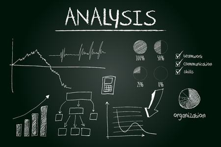Analysis concept sketched on blackboard with hand drawn financial elements photo