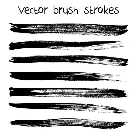 Vector set of hand drawn abstract brush strokes and shapes photo