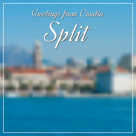 Greetings from Split postcard with blurry image from Split city in background photo