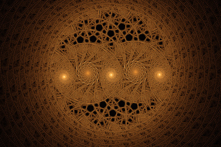 equations: Abstract geometrical tribal golden fractal texture. Visualization of complex equations. Stock Photo