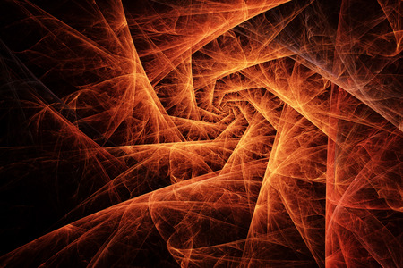 glows: Fiery orange spiral made of abstract fractals glows in the dark. Apstract shapes and textures.