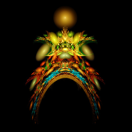pagan: Abstract colorful structure resembling pagan totem. Unusual fractal texture. Stock Photo