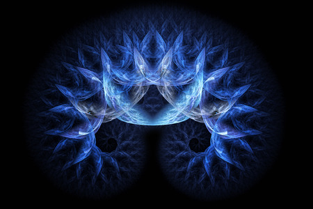 mutually: Two symmetrical blue spirals which are mutually intertwined. Abstract fractal shape.