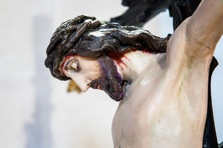 crucified: Close-up of Jesus Christ crucified on the cross to die