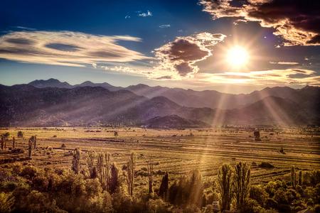 fertile: Beautiful sunset over the fertile plains in southern Croatia Stock Photo