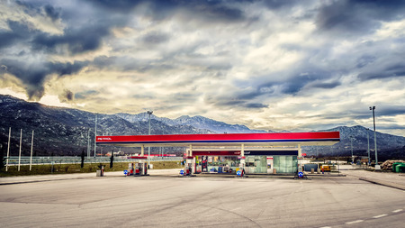 VRGORAC, CROATIA - FEBRUARY 26: Gas station on the highway in Croatia with no customers and no cars on February 26, 2015.