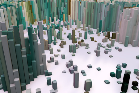 entity: Colorful field of cube columns that make up the abstract entity. 3D render image. Stock Photo