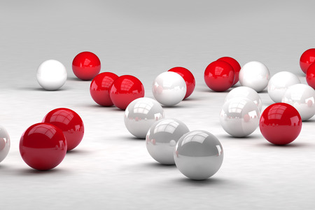 interact: Lots of white and red balls interact. 3D render image. Stock Photo