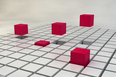 abstract 3d blocks: Cube field some of which stand out. 3D render image. Editorial