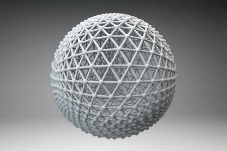 hadron: Sphere made of smaller spheres connected by strands. 3D render image. Stock Photo