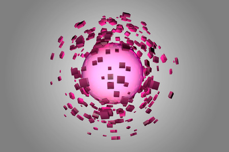 fragmentation: Explosion of glowing sphere into smaller pieces. 3D render image.