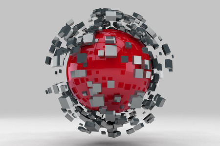 Explosion of sphere into smaller pieces. 3D render image. Stock Photo