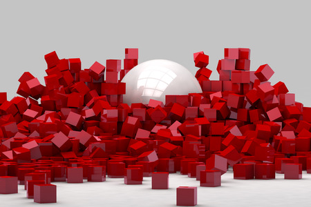 destroyed: Field of red cubes destroyed by large white ball. 3D render image.
