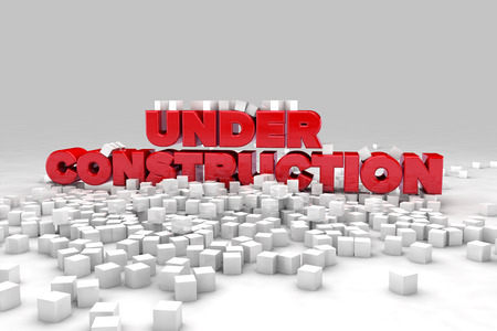 blow up: Under construction sign with blocks of cubes. 3D render image.