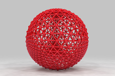 Sphere made of smaller spheres connected by strands. 3D render image. Stock Photo