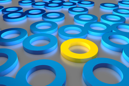 which one: Many blue cylinder discs among which the yellow one stands out. 3D render image. Stock Photo