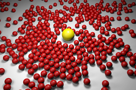 which one: Many red balls among which the yellow one stands out. 3D render image. Stock Photo
