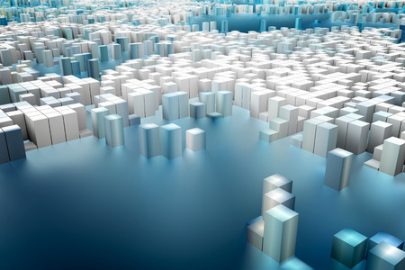 millions: Colorful field of cube columns that make up the abstract entity. 3D render image. Stock Photo