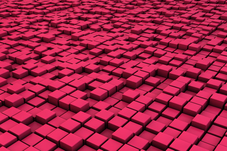 multitude: Field of red 3d cubes. 3d render background image