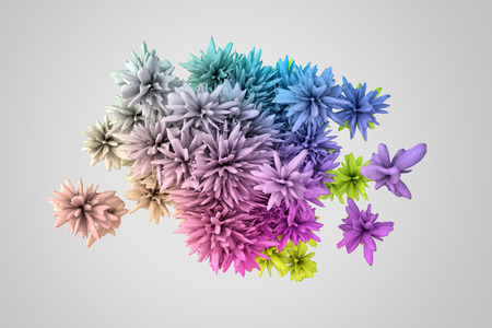 displacement: Abstract 3d shape in many colors that resembles the flower Stock Photo