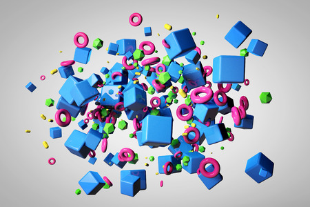 isolated object: Explosion of different 3D objects in empty space. 3d render image. Stock Photo
