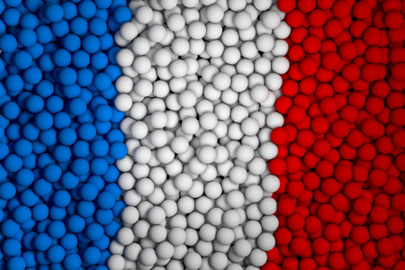 blue ball: Many small colorful balls that form national flag of France. 3d render image. Stock Photo