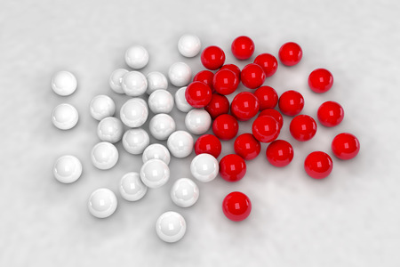 lots: Lots of white and red balls interact. 3D render image. Stock Photo