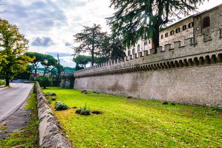 santa maria: Outer walls of abbey of Santa Maria in Grottaferrata Editorial