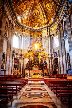 bernini: Apse of basilica of St. Peters in Rome. Masterpieces of Bernini; Chair of St. Peter and Gloria, the descent of the Holy Spirit.