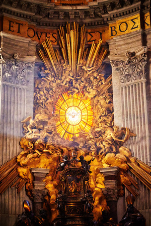 Apse of basilica of St. Peters in Rome. Masterpieces of Bernini; Chair of St. Peter and Gloria, the descent of the Holy Spirit.