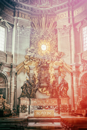 bernini: Apse of basilica of St. Peters in Rome. Masterpieces of Bernini; Chair of St. Peter and Gloria, the descent of the Holy Spirit. Vintage light leak processing.