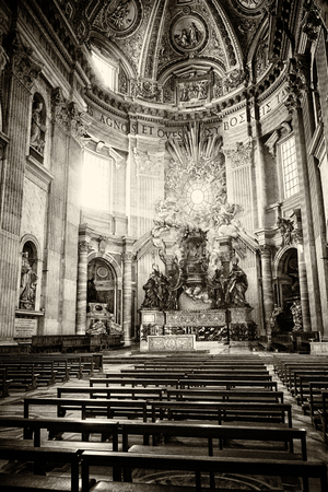bernini: Apse of basilica of St. Peters in Rome. Masterpieces of Bernini; Chair of St. Peter and Gloria, the descent of the Holy Spirit. Old vintage sepia processing.